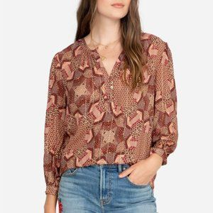 Johnny Was Jade Miles Peasant Blouse Pink Small